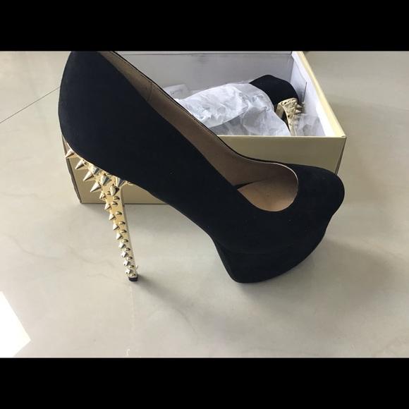 Black Suede High Heel Gold Spike Heels